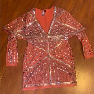Embellished orange fitted stretch dress